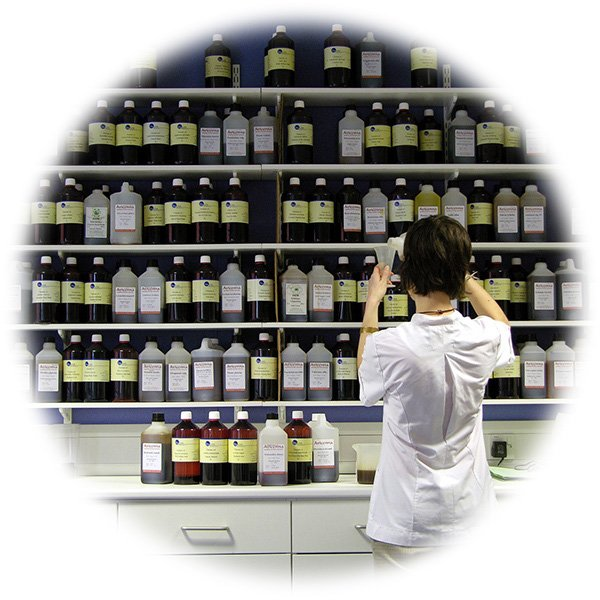 A pharmacist surveys a vast array of bottles of medicine